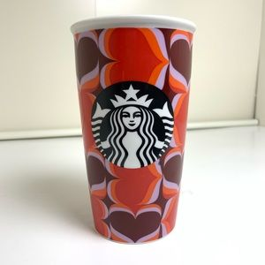 Starbucks Ceramic Tall Mug Hearts No Lid